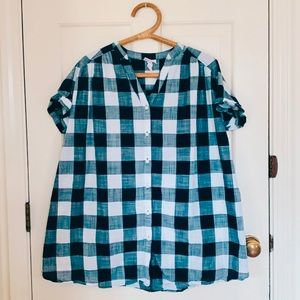 Isabel Maternity | Navy Gingham Plaid Top